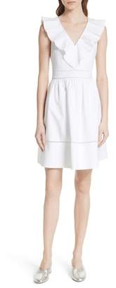 Kate Spade sleeveless ruffle neck stretch cotton dress