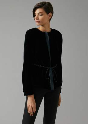 Giorgio Armani Velvet Blouse With Satin Inserts, Central Zip And Drawstring Waist