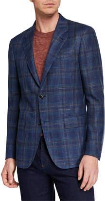 Ermenegildo Zegna Men's Large-Plaid Wool/Silk/Linen Jacket