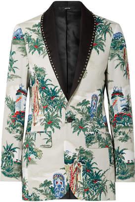 R 13 Studded Silk-trimmed Printed Cotton Blazer - Cream