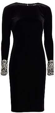 Badgley Mischka Women's Long Sleeve Beaded Cuff Sheath Dress
