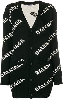 Balenciaga logo print long cardigan