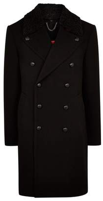 Topman Mens Black Wool Blend Overcoat With Borg Collar