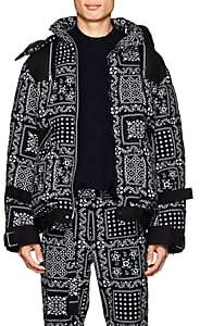 Sacai Men's Hawaiian-Print Corduroy Down Puffer Jacket-Navy