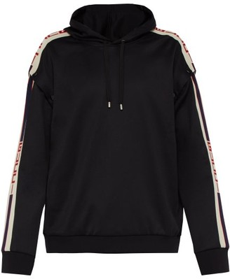 Gucci Logo Tape Detachable Sleeve Hooded Sweatshirt - Mens - Black White