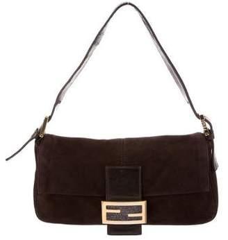 Fendi Leather-Trimmed Suede Baguette