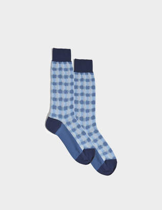 Marni Check Sheer Socks in Blue Mixed Material
