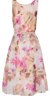 Mikael Aghal Belted Printed Organza Dress