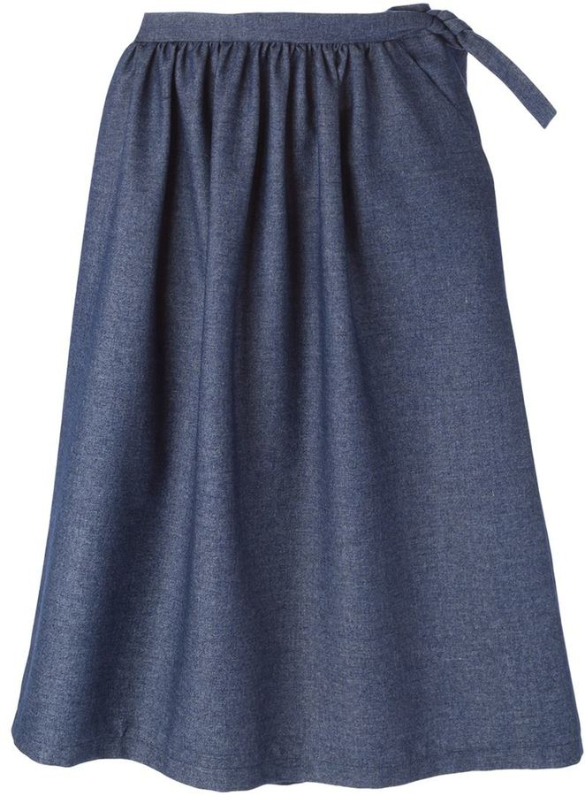 societe anonyme side tie pleated midi skirt shopstyle co