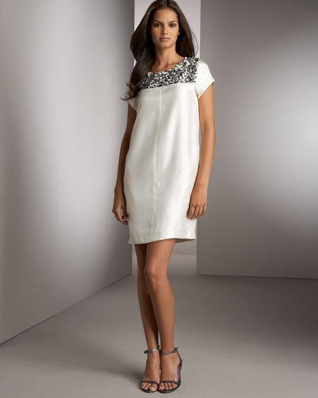 Lavender Label Vera Wang Silk Beaded Dress
