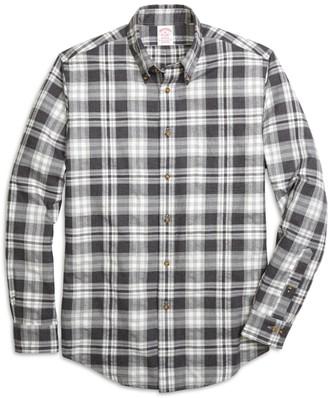 Brooks Brothers Madison Fit Flannel Heathered Multi Plaid Sport Shirt
