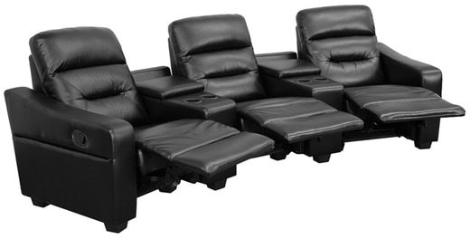 Offex Futura Series 3-seat Reclining Leather Theater Seating Unit with Cup Holders