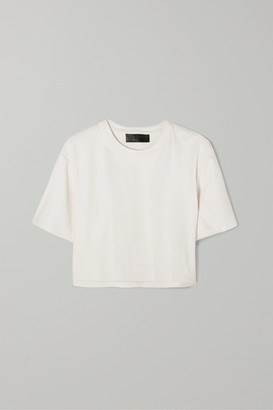 Sprwmn Cropped Leather T-shirt - White
