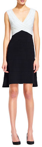 Adrianna PapellAdrianna Papell Plus Colorblocked Banded Fit and Flare Dress