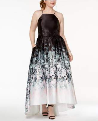 Betsy & Adam Plus Size Ombré Printed Lace-Up Gown
