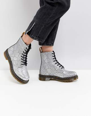 Dr. Martens Vegan Silver Snake Lace up Boots