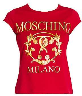 Moschino Women's Cap Sleeve Logo Tee