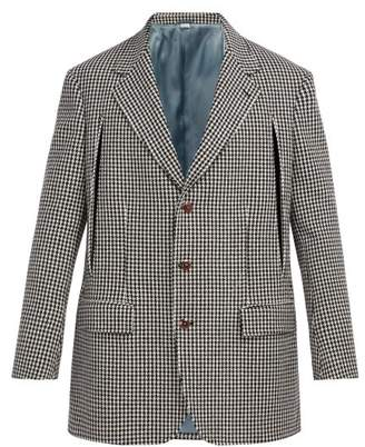 Gucci Single Breasted Houndstooth Wool Blend Blazer - Mens - Black White