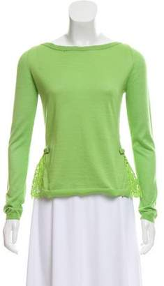 Valentino Lace-Accented Rib-Knit Sweater