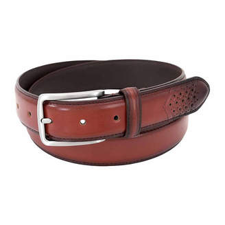 Stacy Adams Burnished Leather Perforated Wing Tip Belt