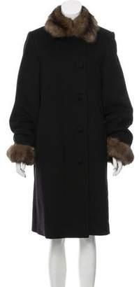 Fur Sable-Trimmed Long Coat