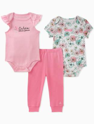 Calvin Klein girls 2-pack floral onesies + leggings