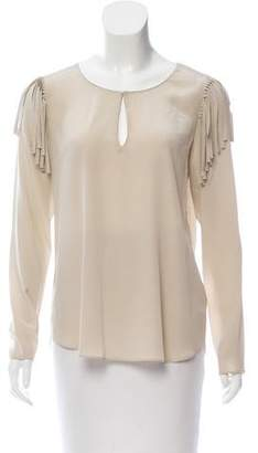 Rory Beca Silk Fringe-Accented Top