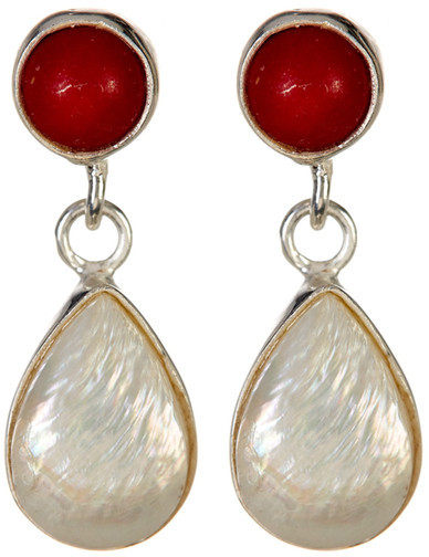 Exex Design Jewelry Sterling Silver Kingman 6mm Natural Pearl & Red Coral Earrings