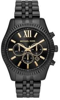 Michael Kors Chronograph Lexington Black IP Stainless Steel Bracelet Watch