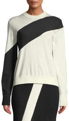 Calvin Klein Crewneck Long-Sleeve Colorblock Sweater