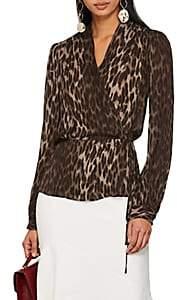 L'Agence Women's Cara Leopard-Print Silk Wrap Blouse - Dk. Green