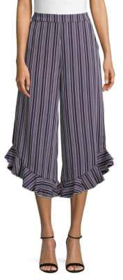 ENGLISH FACTORY Striped Wide-Leg Cropped Pants