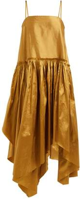 Marques Almeida Marques'almeida - Asymmetric Hem Silk Taffeta Dress - Womens - Gold