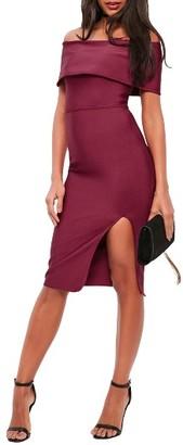 Women's Missguided Bandage Bardot Midi Dress $82 thestylecure.com