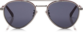 Jimmy Choo CAL Grey Lenses and Ruthenium Oval Frame Sunglasses with Burgundy Flock