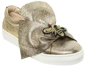 Bee Crackled Metallic Leather Sneakers