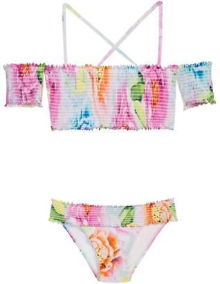 Pilyq Floral Smocked Bikini