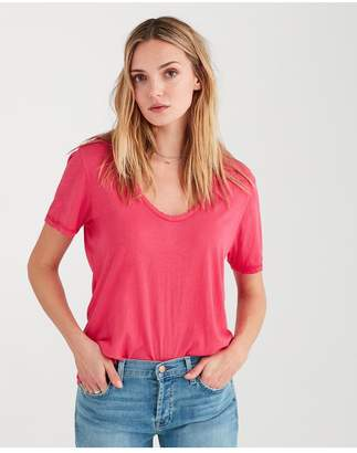 7 For All Mankind Curved Neck Tee In Hot Pink