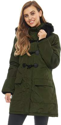 Brave Soul Womens Hero Padded Parka With Detachable Fur Trim Khaki/Black/Black