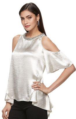 Women's Jennifer Lopez Cold-Shoulder Handkerchief Top $54 thestylecure.com