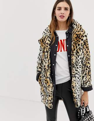QED London leopard faux fur coat