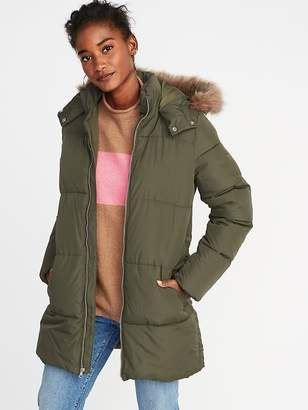 Old Navy Hooded Frost-Free Long Puffer Jacket for Women