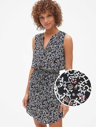 Gap Sleeveless Print Tie-Waist Shirtdress