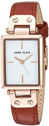 Anne Klein Women's AK/3204RGRU Gold-Tone and Rust Colored Leather Strap Watch