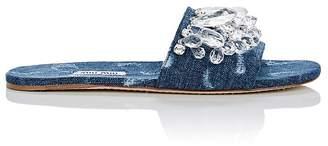 Miu Miu Women's Crystal-Embellished Denim Slide Sandals