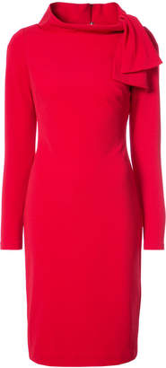 Badgley Mischka tie collar fitted dress