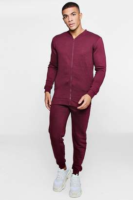 boohoo MAN Embroidered Fleece Bomber Tracksuit
