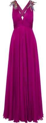 Emilio Pucci Crystal-Embellished Gathered Silk-Chiffon Gown