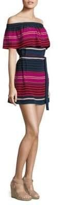 Joie Arla Striped Silk Off-The-Shoulder Dress
