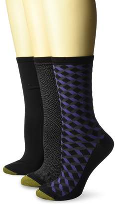 Gold Toe Women's Ultra Soft Geo Crew Socks, 3 Pairs